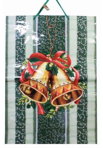 Χριστουγεννιάτικη Τσάντα με Γκι, Κόκκινο Φιόγκο και Καμπανούλες, 70 cm