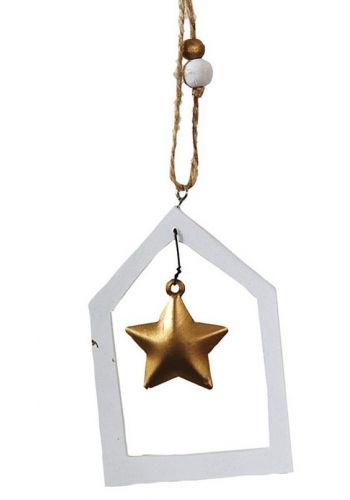 Χριστουγεννιάτικο Στολίδι Ξύλινο Σπιτάκι Λευκό, με Χρυσό Αστεράκι και Χάντρες (20cm)