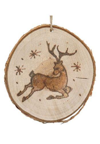 Χριστουγεννιάτικο Στολίδι - Ξύλινος Κορμός με Φιγούρα Ταράνδου (11*9cm)