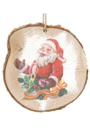 Χριστουγεννιάτικο Στολίδι Ξύλινος Κορμός, με Φιγούρα Άγιου Βασίλη (11*9cm)