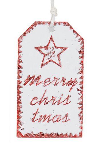 Χριστουγεννιάτικο Στολίδι - Ταμπέλα Λευκή MERRY CHRISTMAS και Αστεράκι (11cm)