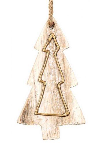 Χριστουγεννιάτικο Στολίδι Ξύλινο Δεντράκι, με Χρυσό Σχέδιο (9cm)