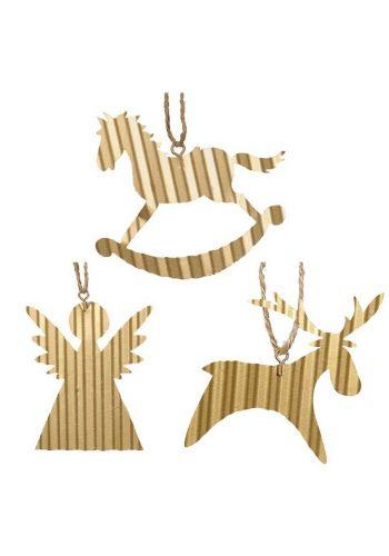Χριστουγεννιάτικα Στολίδια Μεταλλικά, Χρυσά - 3 Σχέδια (7-8cm)