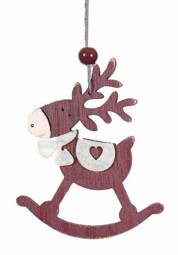 Χριστουγεννιάτικο Ξύλινο Στολίδι Τάρανδος, Μωβ (9cm)