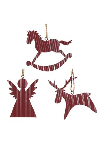 Χριστουγεννιάτικα Στολίδια Μεταλλικά, Μωβ - 3 Σχέδια (7-8cm)