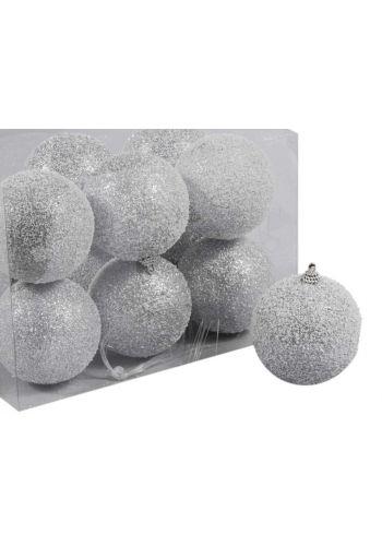Χριστουγεννιάτικες Πλαστικές Ασημί Μπάλες με Στρας - Σετ 12 τεμαχίων (8cm)