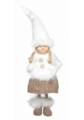 Χριστουγεννιάτικο Διακοσμητικό Λούτρινο Κοριτσάκι με Ψηλό Σκούφο Καφέ (35cm)