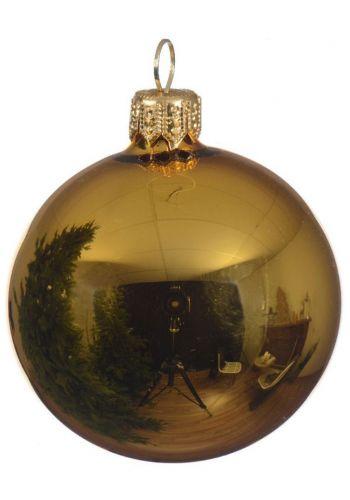 Χριστουγεννιάτικη Μπάλα Γυάλινη Χρυσή, Γυαλιστερή (8cm)