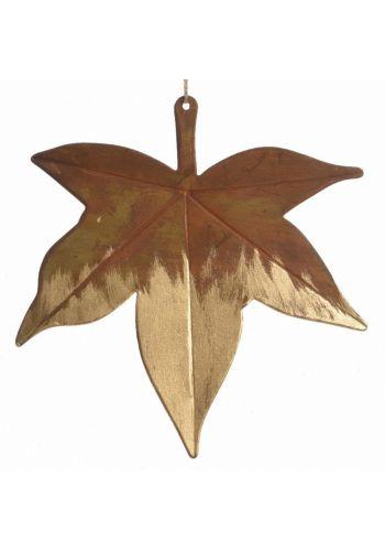 Χριστουγεννιάτικο Κρεμαστό Μεταλλικό Φύλλο Δέντρου (13cm)