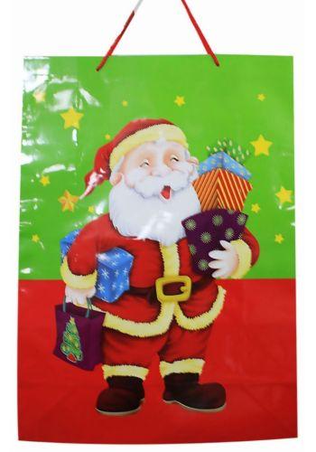 Χριστουγεννιάτικη Τσάντα με Άγιο Βασίλη, Δώρα και Αστεράκια, 55cm