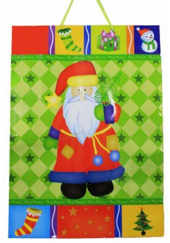Χριστουγεννιάτικη Τσάντα με Άγιο Βασίλη και Αστεράκια, 55cm