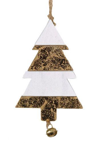 Χριστουγεννιάτικο Στολίδι, Δίχρωμο Διακοσμημένο Έλατο με Κουδουνάκι (11cm)