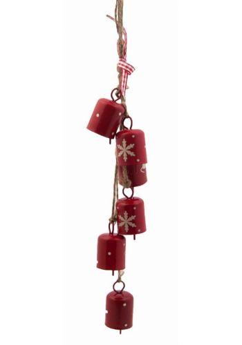 Χριστουγεννιάτικο Κρεμαστό Στολίδι, με 6 Κόκκινα Καμπανάκια (28cm)