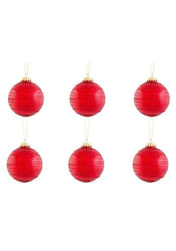 Χριστουγεννιάτικες Πλαστικές Κόκκινες Μπάλες, με Γραμμές - Σετ 6 τεμ. (8cm)