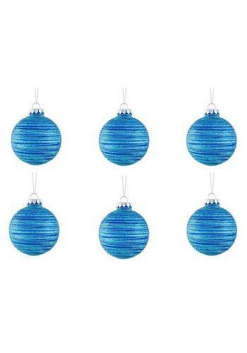 Χριστουγεννιάτικες Πλαστικές Μπλε Μπάλες, με Γραμμές - Σετ 6 τεμ. (8cm)