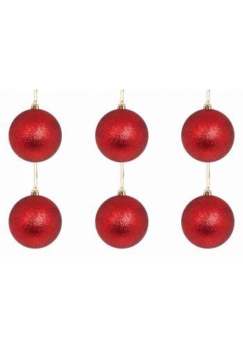 Χριστουγεννιάτικες Μπάλες Κόκκινες, με Στρας - Σετ 6 τεμ. (8cm)