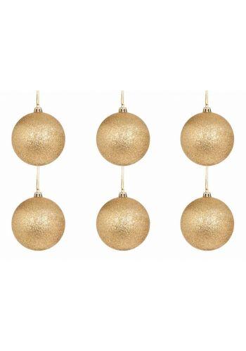 Χριστουγεννιάτικες Μπάλες Χρυσές, με Στρας - Σετ 6 τεμ. (8cm)