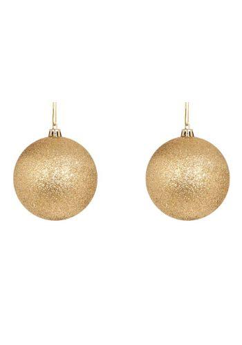 Χριστουγεννιάτικες Μπάλες Χρυσές, με Στρας - Σετ 2 τεμ. (10cm)