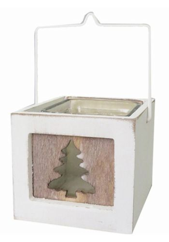 Χριστουγεννιάτικο Ξύλινο Κηροπήγιο, με Γυάλινο Βαζάκι (12cm)