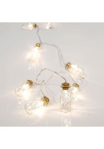10 Λευκά Θερμά Φωτάκια LED Μπαταρίας, με Γυάλινα Βαζάκια και Σύρμα στο Εσωτερικό (1,5m)