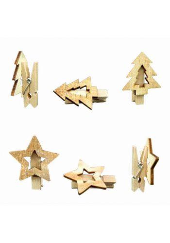 Χριστουγεννιάτικα Ξύλινα Διακοσμητικά Συσκευασίας, με Μανταλάκι σε 2 Σχέδια - Σετ 12 τεμ.(5cm)