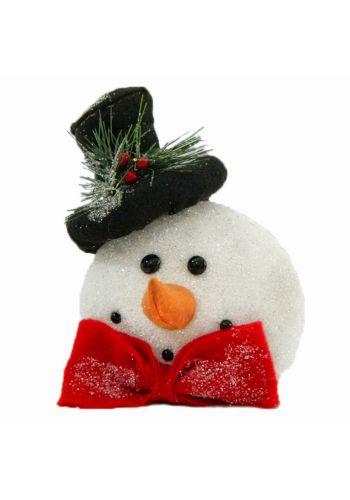 Χριστουγεννιάτικος Διακοσμητικός Χιονάνθρωπος, με Μαύρο Καπέλο και Παπιγιόν (15cm)
