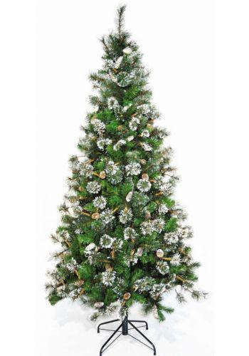 Χριστουγεννιάτικο Χιονισμένο Δέντρο MARYLAND με Κουκουνάρια (2,4m)