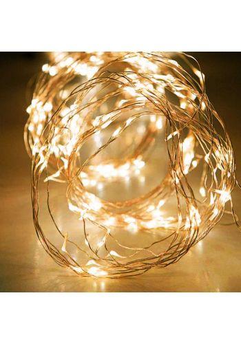 100 Gold Θερμά Φωτάκια LED Copper Χταπόδι Εξωτερικού Χώρου, με 8 Προγράμματα και Τηλεχειριστήριο (10*1m)