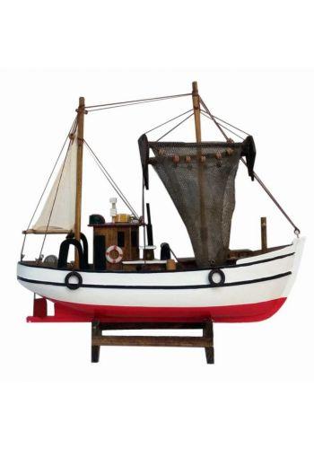 Χριστουγεννιάτικο Ξύλινο Διακοσμητικό Καράβι, Ανεμότρατα με Δίχτυα (45cm)