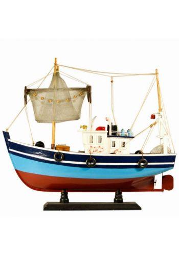 Χριστουγεννιάτικο Ξύλινο Διακοσμητικό Καράβι, Μηχανότρατα Πολύχρωμη (45cm)