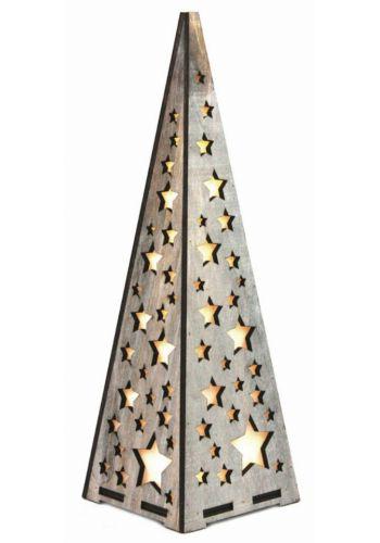 Χριστουγεννιατικος Ξύλινος Διακοσμητικός Κώνος με Αστεράκια και 10 LED Γκρι (38cm)