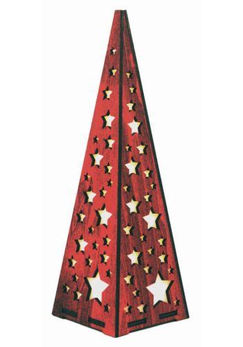 Χριστουγεννιατικος Ξύλινος Διακοσμητικός Κώνος με Αστεράκια και 20 Led, Κόκκινο (57cm)