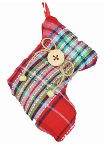 Χριστουγεννιάτικο Υφασμάτινο Στολίδι Κάλτσα, Κόκκινη Καρό (12cm)