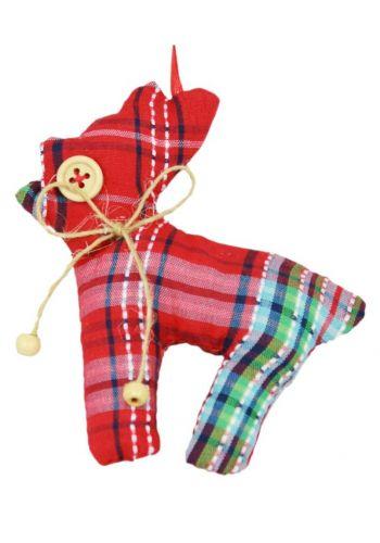 Χριστουγεννιάτικο Υφασμάτινο Στολίδι Τάρανδος, Κόκκινο Καρό (10cm)