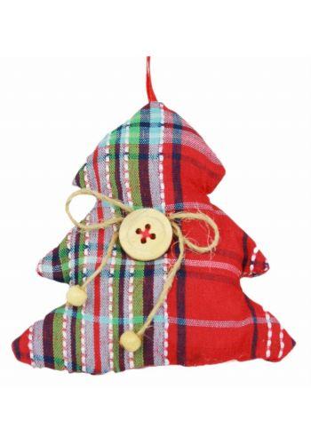 Χριστουγεννιάτικο Υφασμάτινο Στολίδι Δεντράκι, Κόκκινο Καρό (9cm)