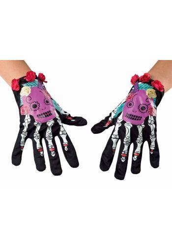 Αποκριάτικο Αξεσουάρ Γάντια Σκελετός και Λουλούδια