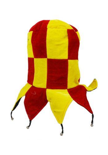 Αποκριάτικο Αξεσουάρ Σκούφος Αρλεκίνου Κίτρινο - Κόκκινο