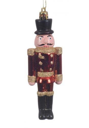 Χριστουγεννιάτικος Πλαστικός Κρεμαστός Καρυοθραύστης, Κόκκινος με Μαύρο Καπέλο (13cm)