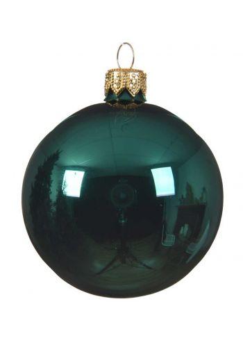 Χριστουγεννιάτικη Μπάλα Γυάλινη, Πράσινη Γυαλιστερή (8cm)
