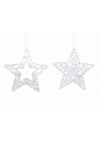 Χριστουγεννιάτικα Μεταλλικά Αστέρια Οροφής, με Πούλιες - 2 Σχέδια (15cm)