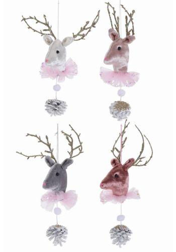 Χριστουγεννιάτικο Υφασμάτινο Στολίδι Τάρανδος, με Κουκουνάρι - 4 Χρώματα (30cm)