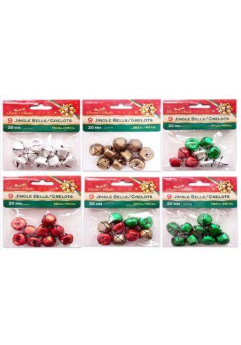 Χριστουγεννιάτικα Μεταλλικά Κουδουνάκια, Σετ 9 τεμ. - 6 Χρώματα (2cm)