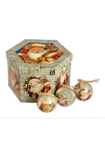 Χριστουγεννιάτικες Μπάλες με Άγιο Βασίλη σε Κουτί Δώρου - Σετ 14 τεμ. (8cm)