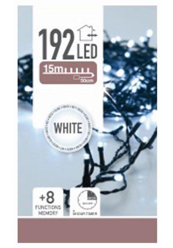 192 Λευκά Ψυχρά Φωτάκια LED Μπαταρίας Εξωτερικού Χώρου, με 8 Προγράμματα και Χρονοδιακόπτη (14,5m)