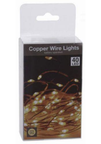 40 Gold Θερμά Φωτάκια LED Copper, με Μπαταρία με 10cm Καλωδιο Τροφοδοσιας (2m)