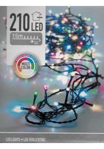 210 Πολύχρωμα Φωτάκια LED Εξωτερικού Χώρου, Σταθερά Αναμμένα με 7 Χρώματα 31V (15m)