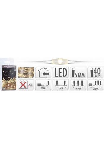 40 Λευκά Θερμά Φωτάκια LED Copper Μπαταρίας (2m)