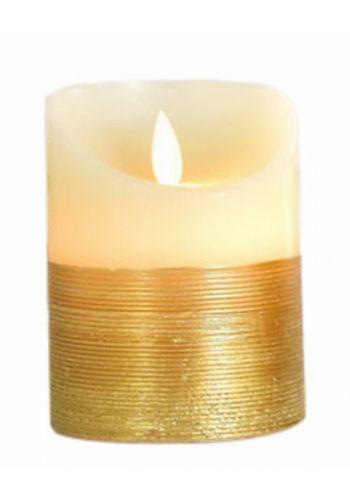 Χριστουγεννιάτικο Διακοσμητικό Κερί, Χρυσό με LED (15cm)