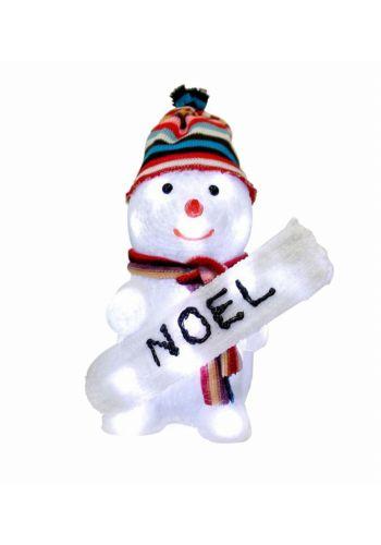 """Χριστουγεννιάτικος Φωτιζόμενος Χιονάνθρωπος με """"NOEL"""" και 24 LED (25cm)"""