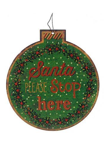 Χριστουγεννιάτικο Μεταλλικό Κρεμαστό Στολίδι, Μπάλα με Ευχές  (13cm)